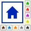 Home framed flat icons - Set of color square framed home flat icons on white background