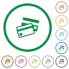 Credit card outlined flat icons - Set of Credit card color round outlined flat icons on white background