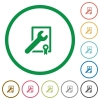 Award winning support outlined flat icons - Set of Award winning support color round outlined flat icons on white background