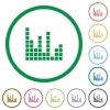 Sound bars outlined flat icons - Set of Sound bars color round outlined flat icons on white background