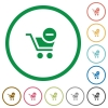 Remove from cart outlined flat icons - Set of Remove from cart color round outlined flat icons on white background