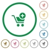 Add to cart outlined flat icons - Set of Add to cart color round outlined flat icons on white background