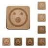 Set of carved wooden shocked emoticon buttons in 8 variations. - Shocked emoticon wooden buttons