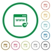Domain registration outlined flat icons - Set of domain registration color round outlined flat icons on white background