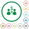 Receive dollar outlined flat icons - Set of receive dollar color round outlined flat icons on white background
