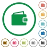 Wallet outlined flat icons - Set of wallet color round outlined flat icons on white background