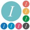 Flat italic font icons - Flat italic font icon set on round color background.