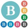 Flat bold font icons - Flat bold font icon set on round color background.