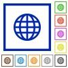 Globe framed flat icons - Set of color square framed globe flat icons
