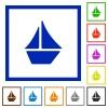 Set of color square framed sailboat flat icons - Sailboat framed flat icons