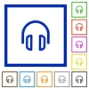 Headset framed flat icons - Set of color square framed headset flat icons