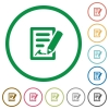 Signing contract outlined flat icons - Set of signing contract color round outlined flat icons on white background