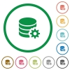 Database configuration outlined flat icons - Set of database configuration color round outlined flat icons on white background