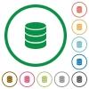 Database outlined flat icons - Set of database color round outlined flat icons on white background