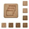 Cascade window view mode wooden buttons - Set of carved wooden Cascade window view mode buttons in 8 variations.