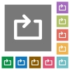 Media repeat square flat icons - Media repeat flat icon set on color square background.