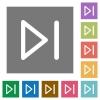Media next square flat icons - Media next flat icon set on color square background.