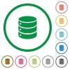 Database outlined flat icons - Set of database color round outlined flat icons on white background