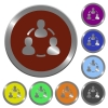 Color online users buttons - Set of color glossy coin-like online users buttons.