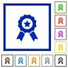 Award framed flat icons - Set of color square framed award flat icons