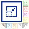 Minimize element framed flat icons - Set of color square framed minimize element flat icons