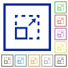 Maximize element framed flat icons - Set of color square framed maximize element flat icons