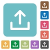 Flat upload icons - Flat upload icons on rounded square color backgrounds.
