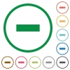 Remove outlined flat icons - Set of remove color round outlined flat icons on white background