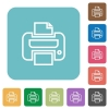 Flat print icons - Flat print icons on rounded square color backgrounds.