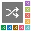 Media shuffle square flat icons - Media shuffle flat icon set on color square background.