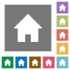Home square flat icons - Home flat icon set on color square background.