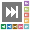 Media fast forward flat icons - Media fast forward flat icon set on color square background.