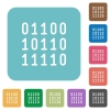 Flat binary code icons - Flat binary code icons on rounded square color backgrounds.