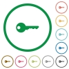 Key outlined flat icons - Set of key color round outlined flat icons on white background
