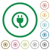 Power cord outlined flat icons - Set of power cord color round outlined flat icons on white background