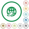 Worldwide outlined flat icons - Set of worldwide color round outlined flat icons on white background
