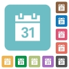 Flat calendar icons - Flat calendar icons on rounded square color backgrounds.