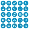 Set of 25 general flat web icons on blue round background - Set of 25 flat web icons