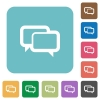 Flat chat bubbles icons on rounded square color backgrounds. - Flat chat bubbles icons