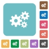 Flat gears icons - Flat gears icons on rounded square color backgrounds.