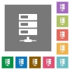 Data network square flat icons - Data network flat icon set on color square background.