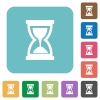 Flat hourglass icons - Flat hourglass icons on rounded square color backgrounds.