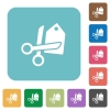 Flat price cut icons - Flat price cut icons on rounded square color backgrounds.