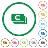 Euro banknotes outlined flat icons - Set of Euro banknotes color round outlined flat icons on white background