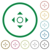Scroll outlined flat icons - Set of scroll color round outlined flat icons on white background