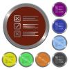 Color questionnaire buttons - Set of color glossy coin-like questionnaire buttons.