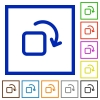 Rotate element framed flat icons - Set of color square framed rotate element flat icons
