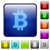 Color bitcoin sign square buttons - Set of bitcoin sign color glass rounded square buttons