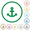 Anchor outlined flat icons - Set of anchor color round outlined flat icons on white background