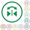 Horizontal flip outlined flat icons - Set of horizontal flip color round outlined flat icons on white background
